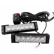 Barra de luz de emergencia para coche, 12LED, 10 modos intermitentes, 12V, luz de precaución, Color blanco/rojo/azul/amarillo