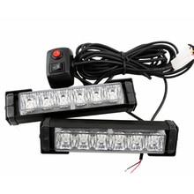 High Quality 12LED Car Emergency Beacon Light Bar 10 Flashing Mode 12V LED Strobe Caution Light White/Red/Blue/Yellow Color