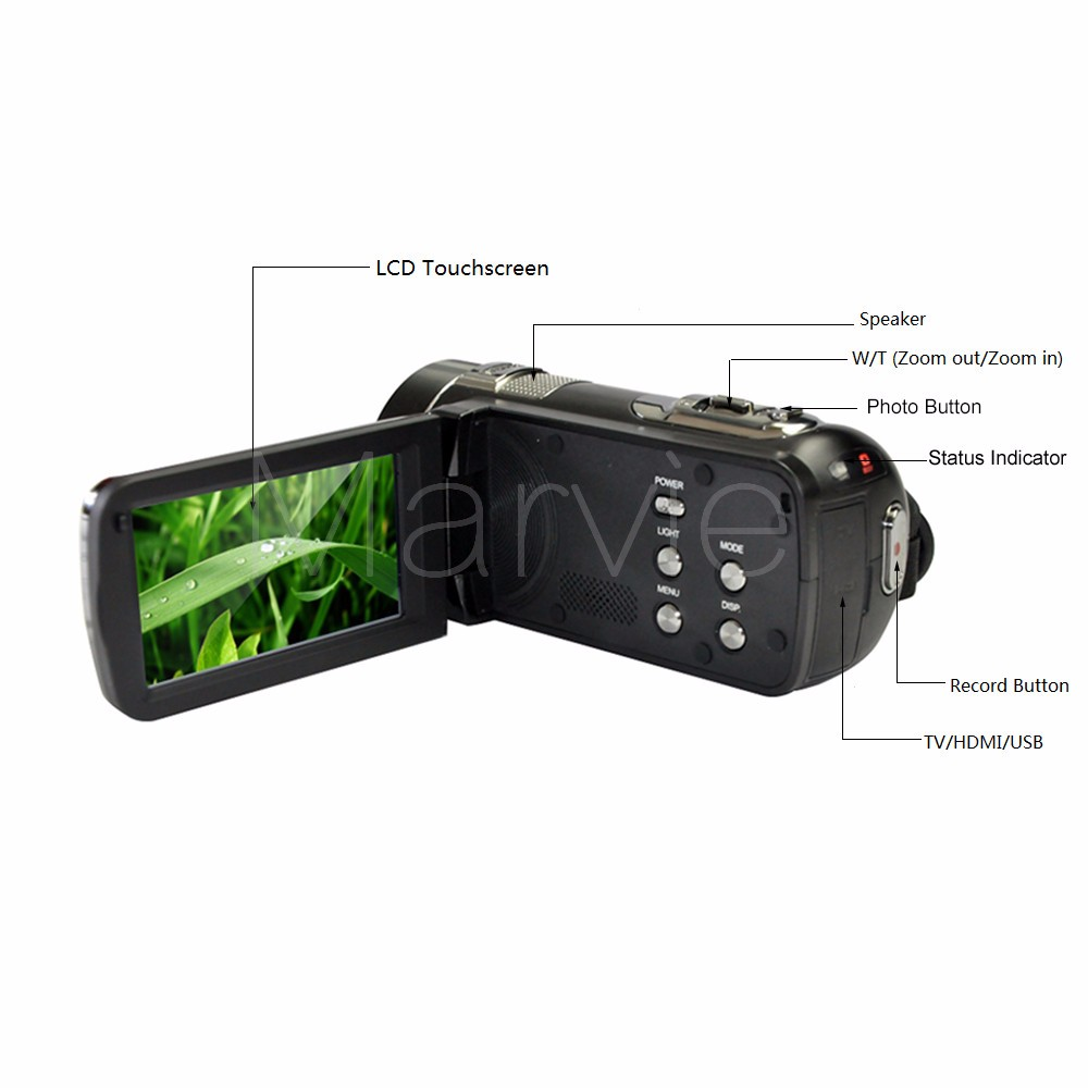 "Marvie FHD Camcorder True 1080p @ 30fps Max 24.0 MP Full Color Screen For Low light 3.0"" Touch Screen 16x Zoom DV Recorder 3"