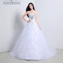ELNORBRIDAL Elegant Strapless Wedding Dresses Plus Size