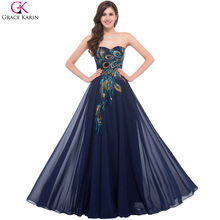 2017 Plus Size Evening Dresses Sexy Grace Karin Peacock Sweetheart Lace-up Chiffon Dress Elegant Long Formal Evening Gowns