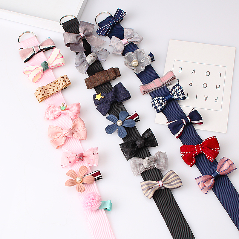 M MISM 8PCS Gift Ribbon Plaid Bow Flower Hairgrips Cute Hairpins Hair Accessories Set Ornaments Hair Clips Kid Girls Party m mism classic nonwoven flower for kids hairgrip girls children cute hairpins hair accessories head wear hair clips