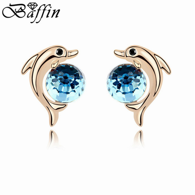 Fashion Crystal Dolphin Stud Earrings Gold Color For Women Made With Austria Elements