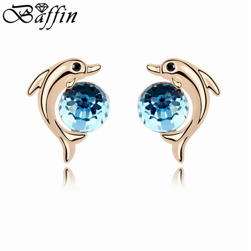 Fashion Crystal Dolphin Stud Earrings Gold Color For Women Made With Swarovski Elements In From Jewelry Accessories On