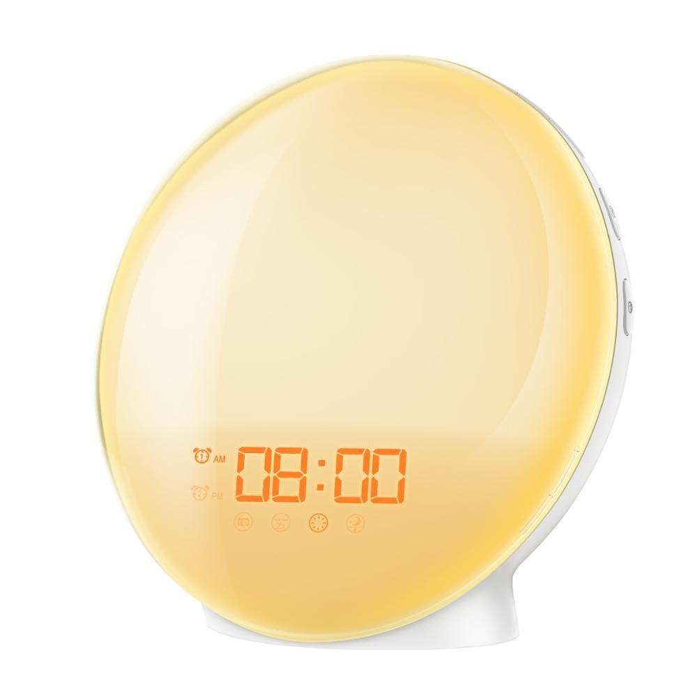 Wake Up Light Sunrise Alarm Clock Atmosphere Lamp Night Light Digital Clock With FM Radio Sunrise/Sunset Simulation For Bedroom