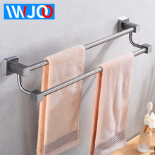 цена на Towel Holder Stainless Steel Towel Rack Hanging Holder Single Towel Bar Wall Mounted Robe Storage Shelf Bathroom Accessories