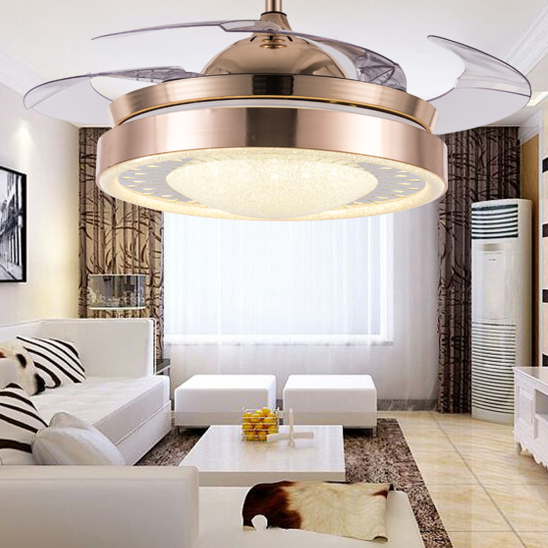 220V LED Fan Light Energy Saving Remote Control Fan Lamp 24W Indoor Decor Living Room Tricolor Ceiling Light