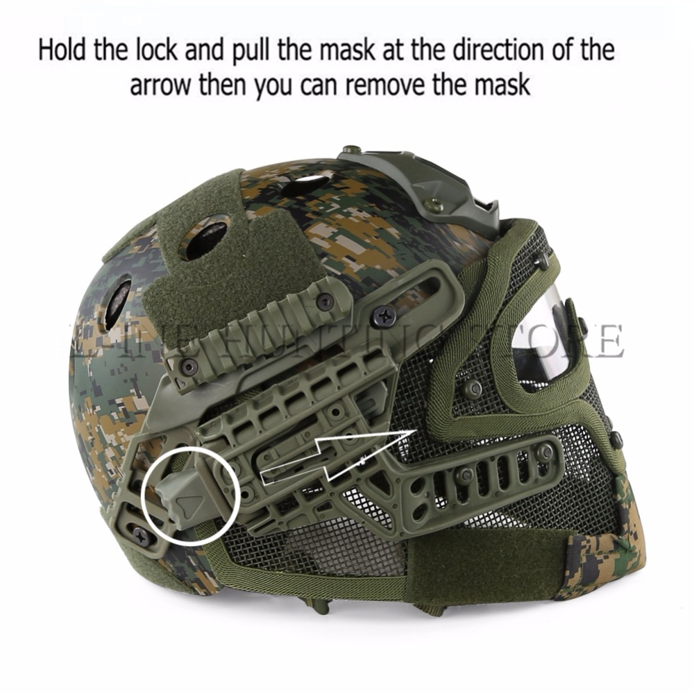 Hunting G4 System ABS Tactical Helmet With Full Face Mask And Goggles For Military Airsoft Shooting tactical skull face mask military field us active duty m50 gas mask cs field skull mask for hunting paintball