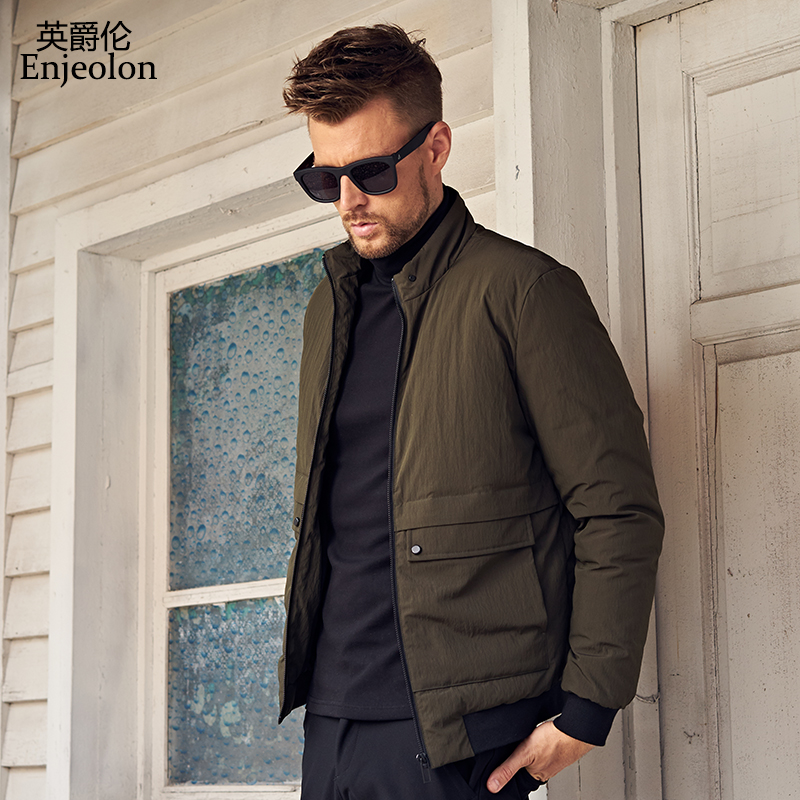 Enjeolon Brand Winter Down Jacket Men Light Thick Parka Coat Male Solid Color Pocket Coat Male 3XL Down Parka MF0112