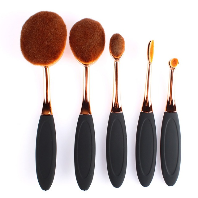 5 Piece Oval Brush Tools Rose Gold Oval Makeup Brush Set