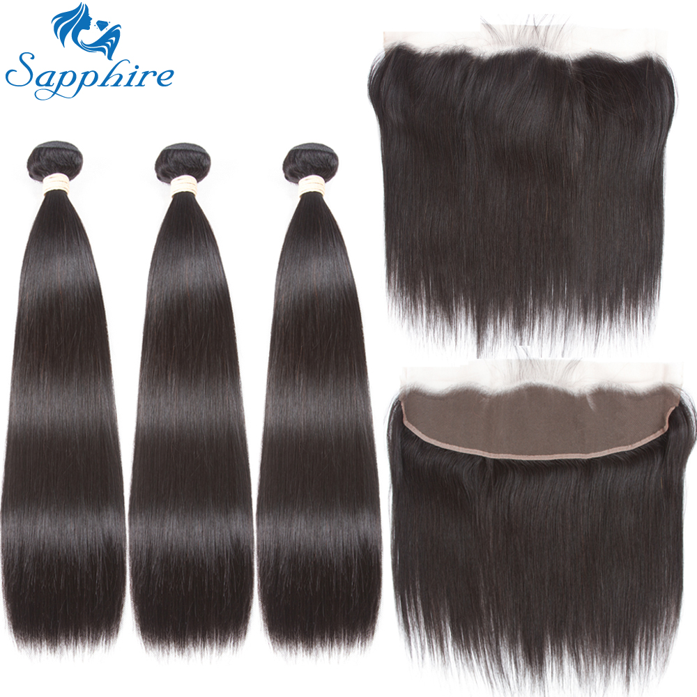 Sapphire Hair 13x4 Lace Frontal Closure With Bundles Brazilian Straight Hair Human Hair Bundles With Lace Frontal Hair Extension