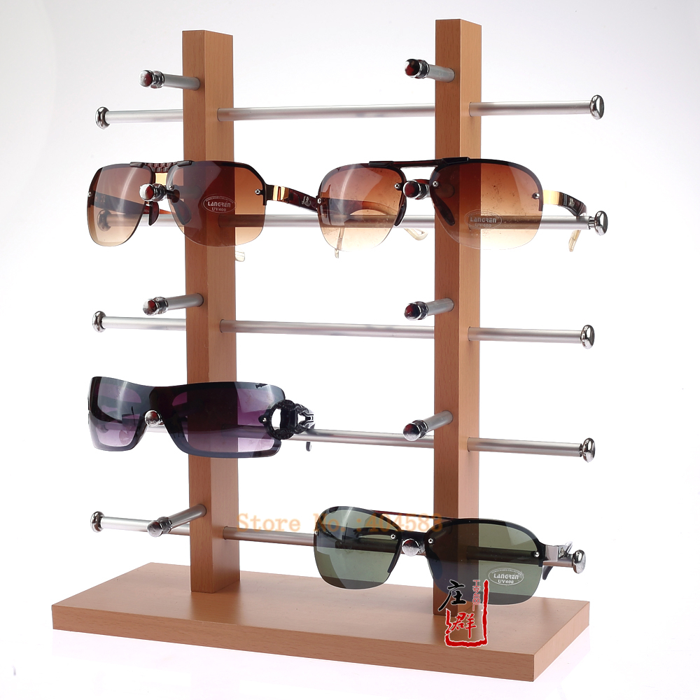 Free shipping double row 10 grid wood sunglasses holder stand rack