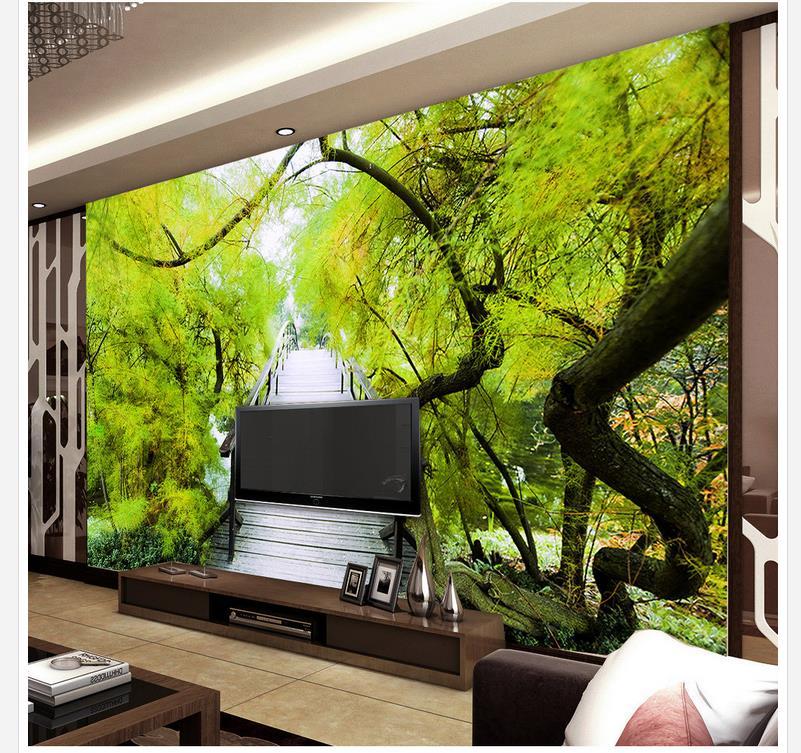 3d Customized Wallpaper Home Decoration Park Road Wooden Bridge Landscape Background WallChina