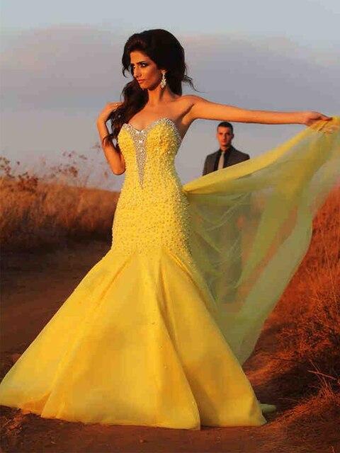 Yellow Mermaid Wedding Dresses