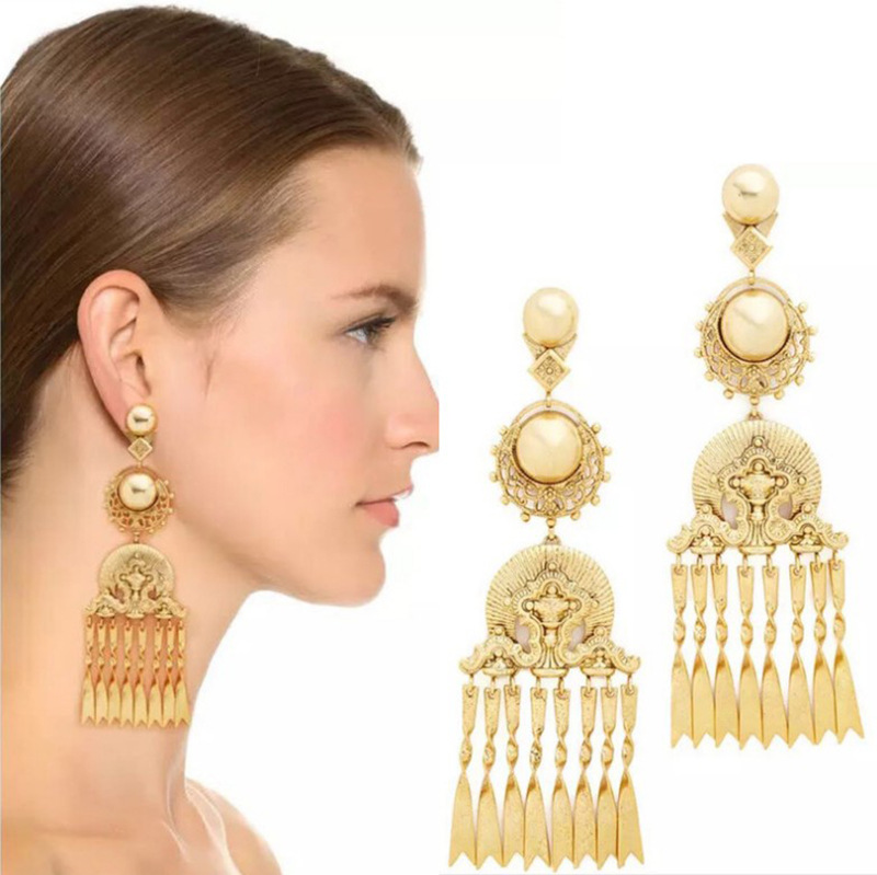 chain tasseled Earrings Baroque exaggerated pearl hollow indian  luxury long big dangle vintage earrings