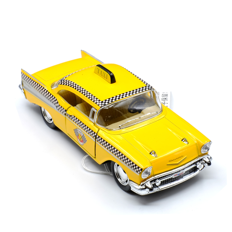 New KiNSMART 1/40 Scale Car Toys 1957 Chevrolet Bel Air Taxi Diecast Metal Pull Back Car Model Toy For Gift Kids Collection