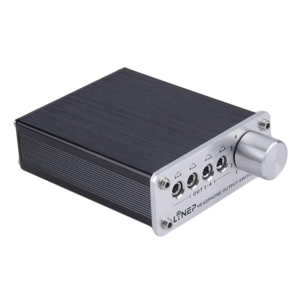 4 Input 4 Output Earphone Headphone Headset 3.5mm Mp3 Audio Signal Switch Switcher Digital Multi-channel Us Plug Black Wholesale