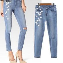 Freeshipping джинсы женщина летние джинсы 2017 рельефа личность цветы развивать нравственность мода джинсы
