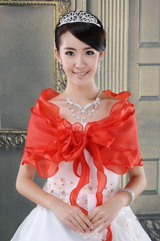 New Hot Red  Wrap Shrug Bolero Jacket Bridal Coat Shawls free shipping