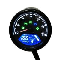 Universal Digital Motorcycle LCD Screen Speedometer Odometer Techometer Gauge Dual Speed