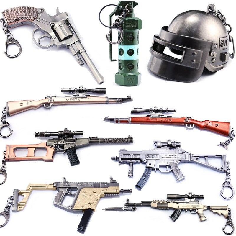 Gioco caldo di Playerunknown Battlegrounds 3D Keychain 15 style PUBG Portachiavi casseruola Pendente divertente Giocattolo per bambini gun accessori casco