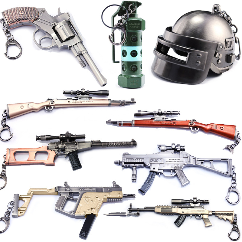 Hot Game Playerunknown's Battlegrounds 3D Keychain 15 style PUBG Keyring saucepan Pendant funny kids Toy gun helmet accessories