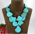 Wedding Woman Gift Irregular Turquoise Slice Pendant Necklace Handmade Jewelry Exaggerated Stone 2 Layer Choker  Necklace