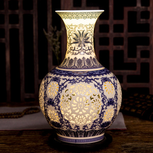 Image 3 - Jingdezhen Hollow Ceramic Vase Chinese Blue And White  Pierced Vase Living Room Decoration Porcelain Flower Vase