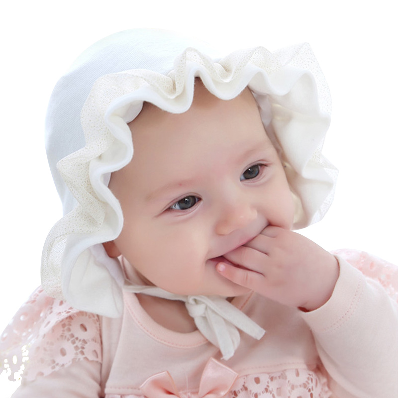 Flower Lace Baby Girls Hat Ruffles Princess Beanie Hat For Girl Cotton Soft Toddler Baby Beanie Spring Autumn Baby Girl Clothing