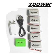 CHAUDE 5 pcs 3.7 v 1200 Mah Xpower Li-polymère lipo batterie et 5in1 USB chargeur plug pour Syma X5SW X5SC M18 H5P drone RC Quadcopter