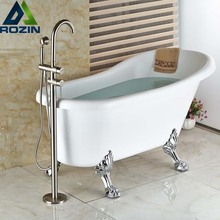 Nickel Brushed Single Lever Free Standing Floor Mount Bathtub Mixer Faucet Bathroom Tub Mixer Taps