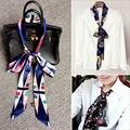 Новый Женский узкий шарф длинный двойной атласная галстук поясная сумка лук печати шарфы мода тонкий оголовье полиэстер ложные воротник леди