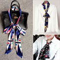 Newest Female narrow scarf long double satin tie belt bag bow printing scarves fashion thin headband polyester false collar lady