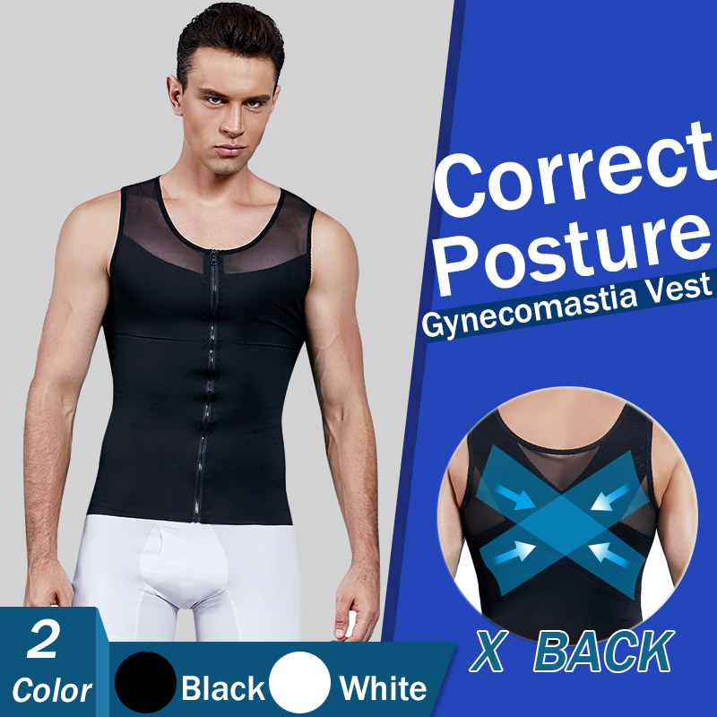 Mens Chest Compression Shirt Gynecomastia Vest Slimming Shirt Body Shaper Tank Top Front Zipper Corset For Man Shapewear