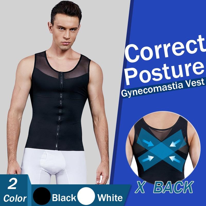 Mens Chest Compression Shirt Gynecomastia Vest Slimming Shirt Body Shaper Tank Top Front Zipper Corset For Man Shapewear