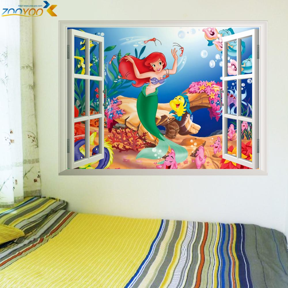 % mermaid underwater world wall stickers for kids rooms home decoration diy 3d window sticker wall decal girls room Art Poster