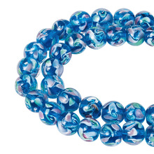 Pandahall 40pcs/strand 10mm Pearlized Handmade Flower Lampwork glass Beads Round Dodger Blue Dreamy Bead for Jewelry DIY Making