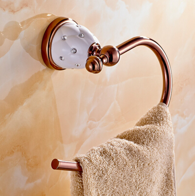 Wall Mounted Brass & Diamond Rose Gold Towel Ring,High Quality Towel Holder, Towel Bar Bathroom Accessories metal ring holder for smartphones rose gold