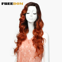 FREEDOM Synthetic Hair Wigs Women Long 26Inch Loose Wavy Lace Front Synthetic Wig For Black Women 2Color Party Wig Free Shipping