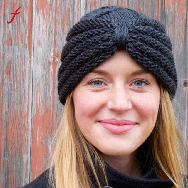 2018 New Fashion Autumn And Winter Baggy Warm Women Manual Wool Knitted Earmuffs Hats Girls Caps Thick Female Cap women's hats
