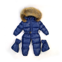 Winter Snowsuit Baby Down Romper Outdoor Infant Skisuit Clothes Girls Overall for Boy Onesite Infantil Kids Jumpsuit 0-3 years