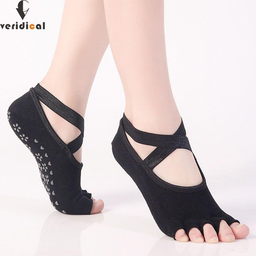 Veridical 5 Paren/partij Vrouwen Ballet Sokken Vijf Teen Anti Slip Dance Dames Vinger Sokken Vrouwelijke Dans Sok Met Linten Katoen Sok