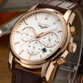 Guanqin cuarzo nuevo reloj de la marca hombres de la manera correa marrón cronógrafo 30 m impermeable de múltiples funciones de negocios de gran dial relojes de pulsera