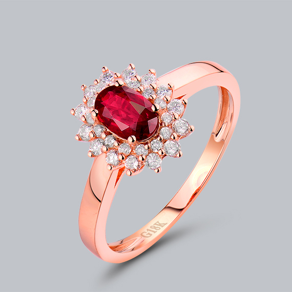 Classical Wedding Rings Online Oval 4x6mm Red Ruby 18 KT Rose Gold Natural  Diamond Ring WU52RU