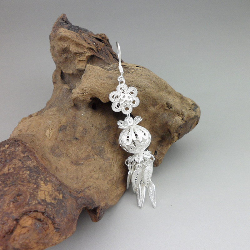 999 Sterling Silver Long Earrings Drop Tassels Women 39 s Earings Ethnic Chinese Lantern Vintage Handmade Fashion Jewelry Female in Drop Earrings from Jewelry amp Accessories