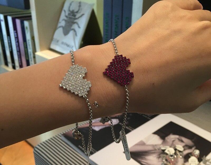 2 couleurs rouge blanc rose cristal coeur bracelet 925 argent sterling bijoux de mariage artiste chaîne lien bracelets femmes accessoire