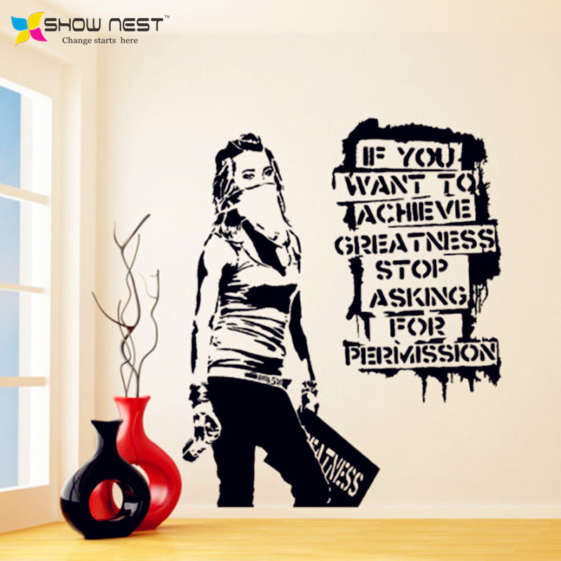 Banksy Vinyl Wall Decal Want To Achieve Greatness Graffiti Street Art  Sticker Decor Banks Style Home Decoration In Wall Stickers From Home U0026  Garden On ...