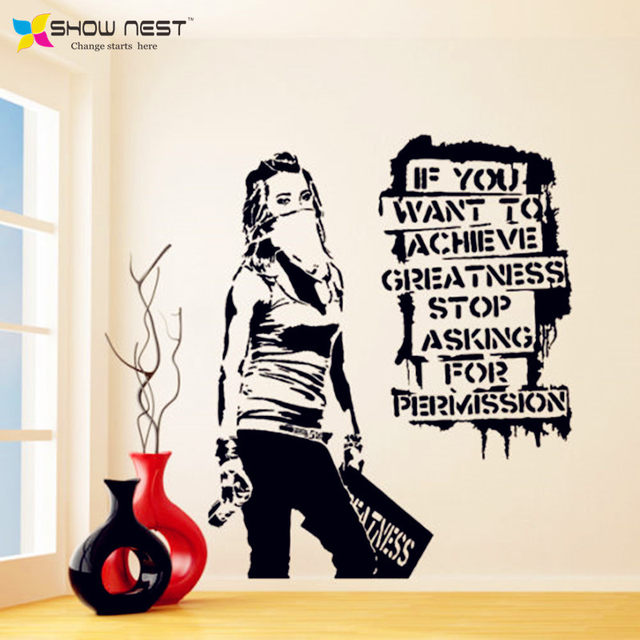 Online Shop Banksy Vinyl Wall Decal Want to Achieve Greatness ...