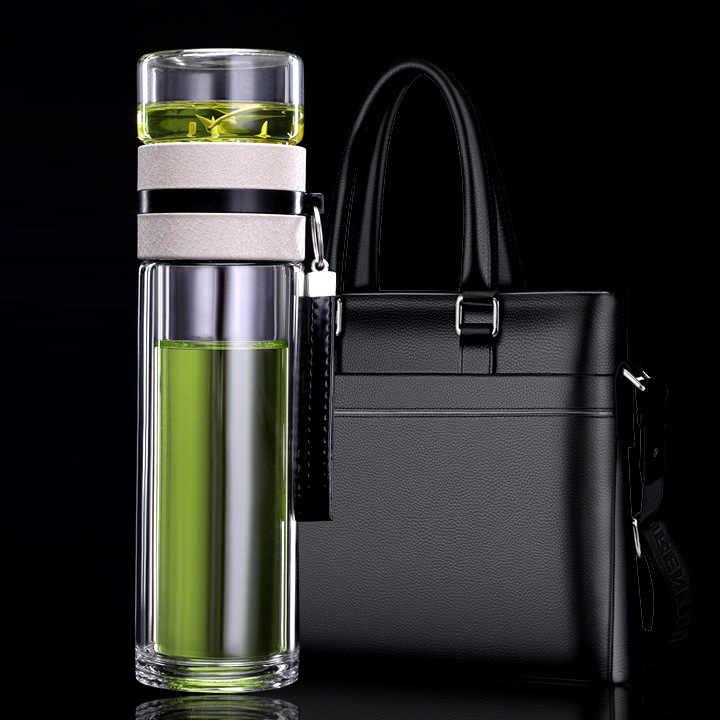 שכבה כפולה תה בקבוק גבוה ורוסיליקט זכוכית מים בקבוק גברים של משרד מיוחד בדרגה גבוהה קומקום עם תה מחיצת זכוכית כוס