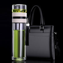 Double-layer Tea Bottle High Borosilicate Glass Water Mens Office Special High-grade Teapot with Partition Cup